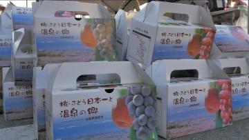 お土産は、もちろん笛吹市産のブドウ!