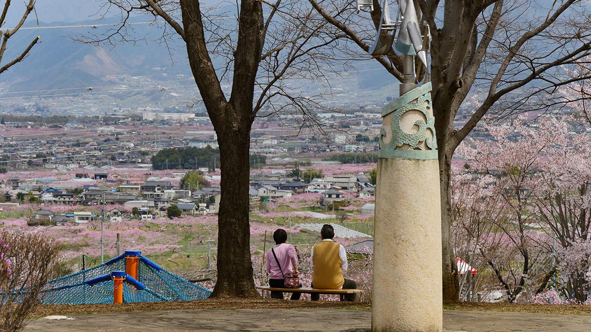 公園東側方面は、こ〜ん感じで座って見ると良いでしょう